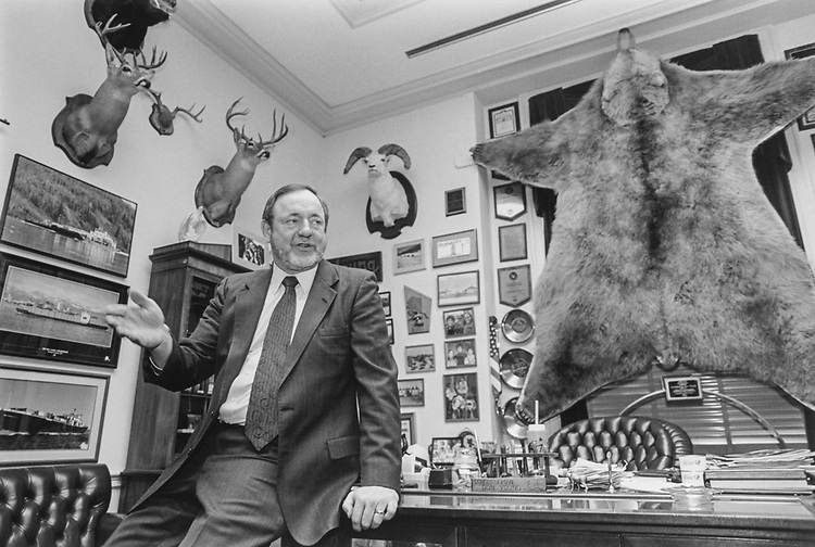 Rep. Don Young, R-Alaska, in his Rayburn Office, on Feb. 22, 1995. (Photo by Laura Patterson/CQ Roll Call via Getty Images)