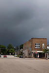 Summer storm brewing over downtown Ludington, Michigan, MI, USA