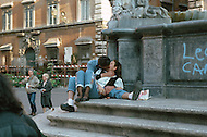 "April 27, 1990, Rome, Italy. Photographing for the book ""One day in the life of Italy"", this is an exploration of Rome. Lovers kissing at a fountain."