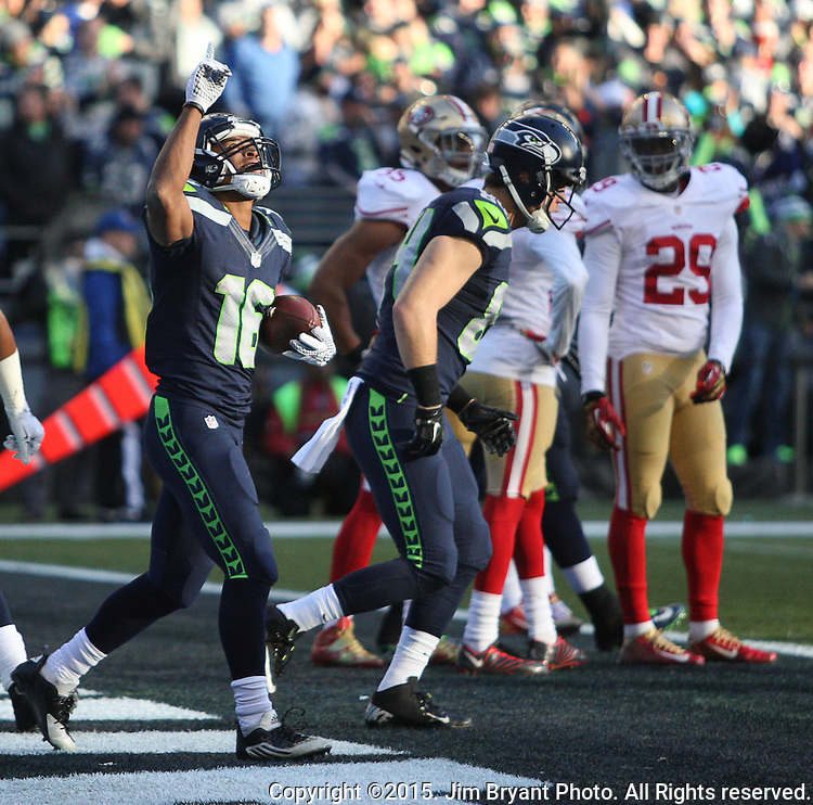 Seattle Seahawks wide receiver Tyler Lockett  (16) celebrates in the  end zone after scoring a touchdown against San Francisco 49ers  at CenturyLink Field in Seattle, Washington on November 22, 2015.  The Seahawks beat the 49ers 29-13.   ©2015. Jim Bryant Photo. All RIghts Reserved.