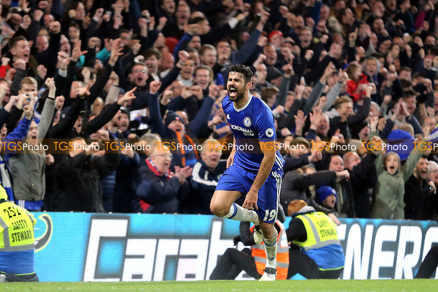Diego Costa of Chelsea celebrates scoring the fourth goal during Chelsea vs Stoke City, Premier League Football at Stamford Bridge on 31st December 2016