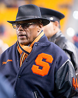 Syracuse Hall of Fame running back Floyd Little watches from the sideline. The Pitt Panthers defeated the Syracuse Orange 30-7 at Heinz Field, Pittsburgh, Pennsylvania on November 22, 2014.