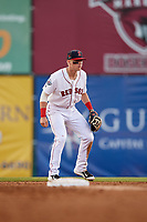 Salem Red Sox second baseman Brett Netzer (13) during a game against the Lynchburg Hillcats on May 10, 2018 at Haley Toyota Field in Salem, Virginia.  Lynchburg defeated Salem 11-5.  (Mike Janes/Four Seam Images)