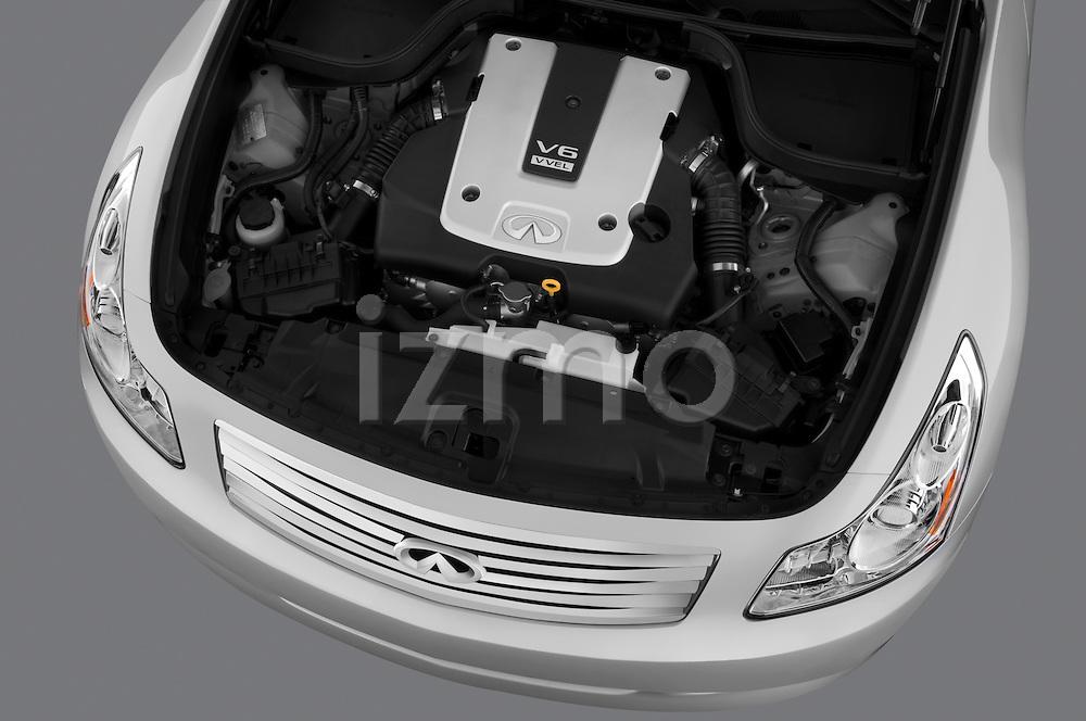 High angle engine detail of a 2009 Infiniti G37 S Sedan .