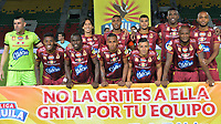 IBAGUÉ - COLOMBIA, 7-03-2018:Formación Deportes Tolima . Deportes Tolima y Envigado FC en partido por la fecha 7de la Liga Águila I 2018 jugado en el estadio Manuel Murillo Toro de Ibagué. /Team of Depotes Tolima. Deportes Tolima and Envigado FC in match for date 7 of the Aguila League I 2018 played at Manuel Murillo Toro stadium in Ibague city. Photo: VizzorImage / Juan Carlos Escobar / Contribuidor