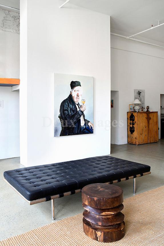 modern black leather seating