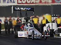 Feb. 14, 2013; Pomona, CA, USA; NHRA top fuel dragster driver Brandon Bernstein during qualifying for the Winternationals at Auto Club Raceway at Pomona.. Mandatory Credit: Mark J. Rebilas-