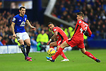 Leighton Baines of Everton back passes under pressure from Leicester's Danny Simpson and Andrej Kramaric - Everton vs. Leicester City - Barclay's Premier League - Goodison Park - Liverpool - 22/02/2015 Pic Philip Oldham/Sportimage