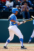 Kevin Williams #5 of the UCLA Bruins looks to bunt during a game against the California Golden Bears at Jackie Robinson Stadium on March 23, 2013 in Los Angeles, California. (Larry Goren/Four Seam Images)