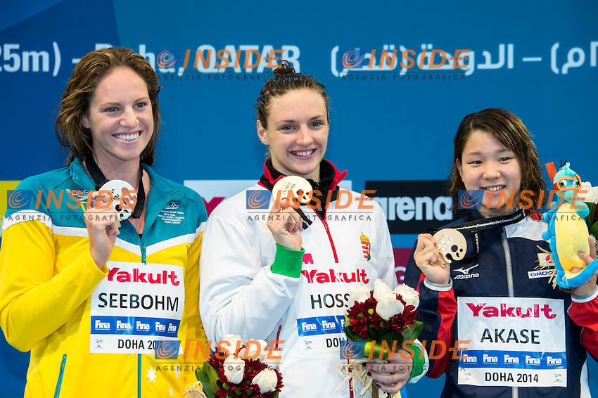 HOSSZU Katinka HUN Gold Medal WR CR<br /> SEEBOHM Emily AUS Silver Medal<br /> AKASE Sayaka JPN Bronze Medal<br /> Women's Backstroke 200m Final<br /> Doha Qatar 05-12-2014 Hamad Aquatic Centre, 12th FINA World Swimming Championships (25m). Nuoto Campionati mondiali di nuoto in vasca corta.<br /> Photo Giorgio Scala/Deepbluemedia/Insidefoto