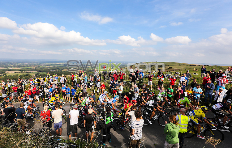 Picture by Alex Whitehead/SWpix.com - 13/09/2014 - Cycling - 2014 Friends Life Tour of Britain - Stage 7, Camberley to Brighton - Riders climb up Ditchling Beacon during Stage 7.
