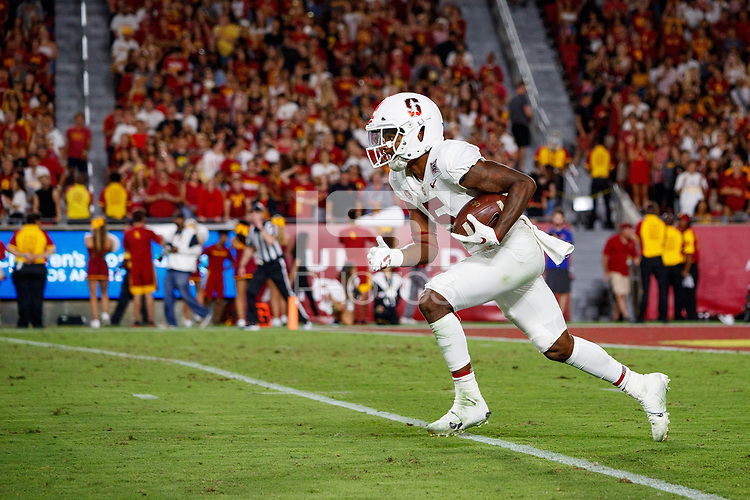 LOS ANGELES, CA - SEPTEMBER 8: Stanford Cardinal Connor Wedington #5 returns a kickoff (Photo by Bob Drebin/Getty Images). during a game between USC and Stanford Football at Los Angeles Memorial Coliseum on September 7, 2019 in Los Angeles, California.