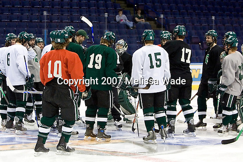 The Michigan State Spartans gather at center ice during their practice on Friday, April 6, 2007, at the Scottrade Center in St. Louis, Missouri in preparation for the 2007 Frozen Four Final on April 7.
