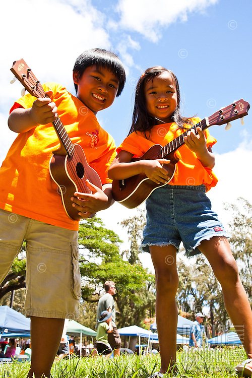 Children at the 40th Annual Ukulele Festival at Kapiolani Park