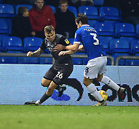 Lincoln City's Harry Anderson vies for possession with Oldham Athletic's Andy Taylor<br /> <br /> Photographer Andrew Vaughan/CameraSport<br /> <br /> The EFL Sky Bet League Two - Oldham Athletic v Lincoln City - Tuesday 27th November 2018 - Boundary Park - Oldham<br /> <br /> World Copyright © 2018 CameraSport. All rights reserved. 43 Linden Ave. Countesthorpe. Leicester. England. LE8 5PG - Tel: +44 (0) 116 277 4147 - admin@camerasport.com - www.camerasport.com