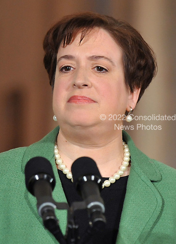 Solicitor General Elena Kagan delivers remarks at an an event where United States President Barack Obama announced her as his Supreme Court Justice nominee in the East Room at the White House in Washington, Monday, May 10, 2010. A vacancy in the court has opened up as current Supreme Court Justice John Paul Stevens has announced his resignation.   .Credit: Kevin Dietsch / Pool via CNP