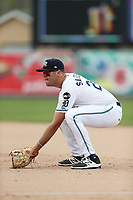 West Michigan Michigan Whitecaps first baseman Blaise Salter (24) on defense against the Fort Wayne TinCaps during the Midwest League baseball game on April 26, 2017 at Fifth Third Ballpark in Comstock Park, Michigan. West Michigan defeated Fort Wayne 8-2. (Andrew Woolley/Four Seam Images via AP Images)