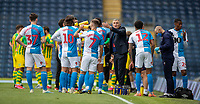 11th July 2020; Ewood Park, Blackburn, Lancashire, England; English Football League Championship Football, Blackburn Rovers versus West Bromwich Albion; Blackburn Rovers manager Tony Mowbray communicates to his players at the drinks break