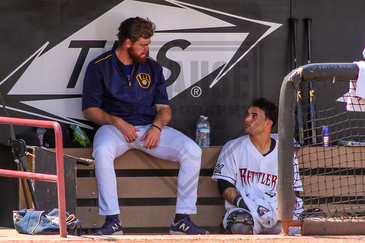 Wisconsin Timber Rattlers pitcher Braden Webb (30) and catcher Mario Feliciano (4) during a Midwest League game against the Burlington Bees on July 10, 2017 at Fox Cities Stadium in Appleton, Wisconsin.  Burlington defeated Wisconsin 6-3. (Brad Krause/Krause Sports Photography)