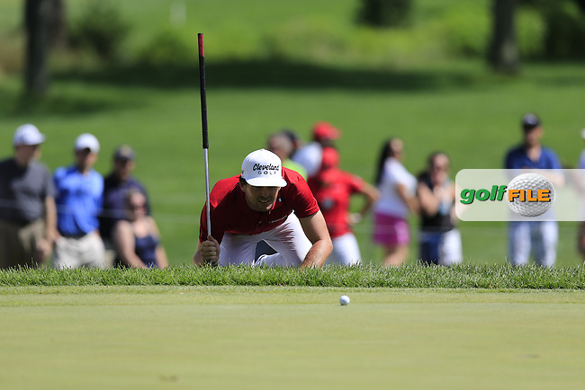 Keegan Bradley (USA) lines up his putt on the 9th green during Sunday's Final Round of the 2013 Bridgestone Invitational WGC tournament held at the Firestone Country Club, Akron, Ohio. 4th August 2013.<br /> Picture: Eoin Clarke www.golffile.ie
