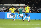 27th March 2018, Olympiastadion, Berlin, Germany; International Football Friendly, Germany versus Brazil; Julian Draxler(Germany) beaten by the pass from Willian (Brazil)