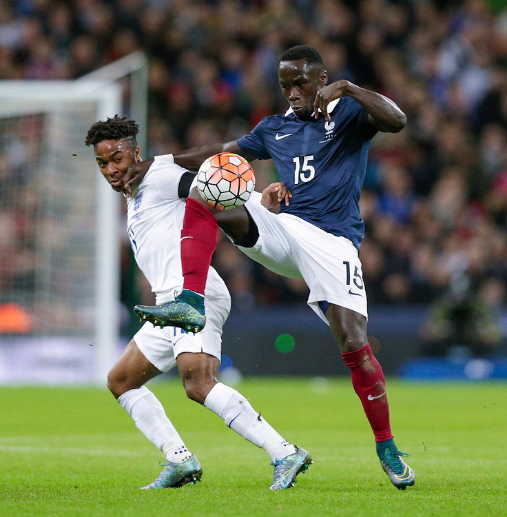 France&rsquo;s Bacary Sagna battles for possession with England&rsquo;s Raheem Sterling<br /> <br /> Photographer Craig Mercer/CameraSport<br /> <br /> Football International - England v France - Tuesday 17th November 2015 - Wembley Stadium - London<br /> <br /> &copy; CameraSport - 43 Linden Ave. Countesthorpe. Leicester. England. LE8 5PG - Tel: +44 (0) 116 277 4147 - admin@camerasport.com - www.camerasport.com