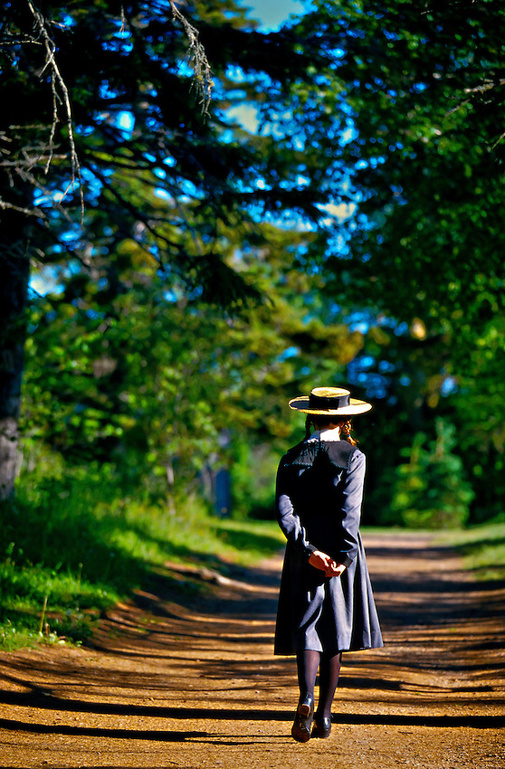 """Girl portraying """"Anne of Green Gables"""", Green Gables House, Cavendish, Prince Edward Island, Canada"""