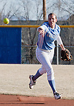 March 10, 2012:  San Diego Toreros second baseman Jessica Tieszen flips to first against the Nevada Wolf Pack during their NCAA softball game played as part of the The Wolf Pack Classic at Christina M. Hixson Softball Park on Saturday in Reno, Nevada.