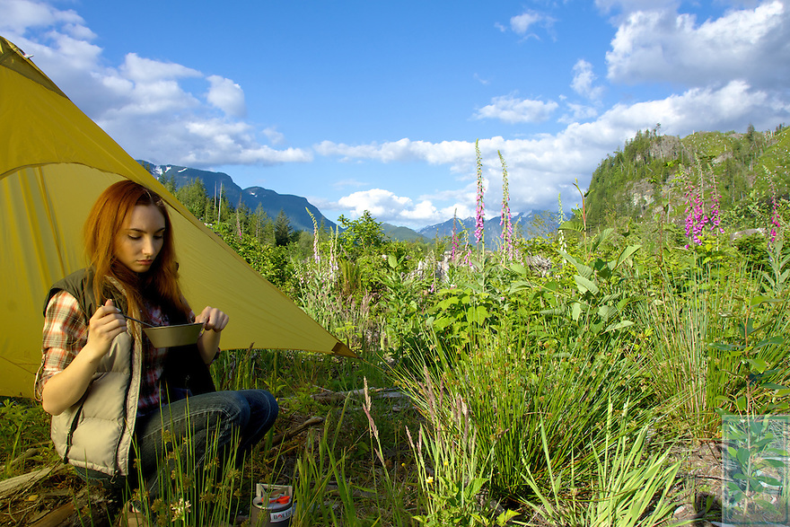 Model Hannah Thompson-Garner in the forests of the North Cascades.