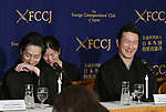 """April 26, 2018, Tokyo, Japan - Japanese kabuki actors Nakamura Shichinosuke, left, Nakamura Shido speak during a news conference at Tokyo Foreign Correspondents Club of Japan on Thursday, April 26, 2018. The two Nakamuras will perform kabuki in the """"Japonismes 2018, a cultural expo starting in Paris and surrounding areas in July to celebrate the 160th anniversary of?Japan-France?diplomatic relations.  (Photo by Natsuki Sakai/AFLO) AYF -mis-"""