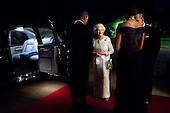 President Barack Obama and First Lady Michelle Obama talk with Queen Elizabeth II and Prince Philip, Duke of Edinburgh, before they depart Winfield House in London, England, following a dinner in honor of the Queen, May 25, 2011..Mandatory Credit: Pete Souza - White House via CNP