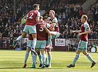 Burnley players celebrate with Kevin Long (2nd Right) after he scored his side's second goal <br /> <br /> Photographer Rich Linley/CameraSport<br /> <br /> The Premier League - Burnley v Leicester City - Saturday 14th April 2018 - Turf Moor - Burnley<br /> <br /> World Copyright &copy; 2018 CameraSport. All rights reserved. 43 Linden Ave. Countesthorpe. Leicester. England. LE8 5PG - Tel: +44 (0) 116 277 4147 - admin@camerasport.com - www.camerasport.com