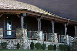Large rustic log porch of the Keeter Convention Center at the College of the Ozarks Branson Missouri