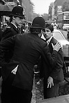 Young man in the Kings Road, Chelsea London 1977, being given a friendly warning by the police. SUS Law, allowed the police to Stop and Search any SUSpecious person any where any time.