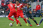14.04.2019, Merkur Spielarena, Duesseldorf , GER, 1. FBL,  Fortuna Duesseldorf vs. FC Bayern Muenchen,<br />  <br /> DFL regulations prohibit any use of photographs as image sequences and/or quasi-video<br /> <br /> im Bild / picture shows: <br /> Joshua Kimmich (Bayern Muenchen #32),  im Zweikampf gegen  Aymen Barkok (Fortuna Duesseldorf #8), <br /> <br /> Foto &copy; nordphoto / Meuter
