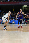 Turkish Airlines Euroleague 2018/2019. <br /> Regular Season-Round 18.<br /> FC Barcelona Lassa vs Panathinaikos Opap Athens: 79-68.<br /> Nick Calathes vs Thomas Heurtel.