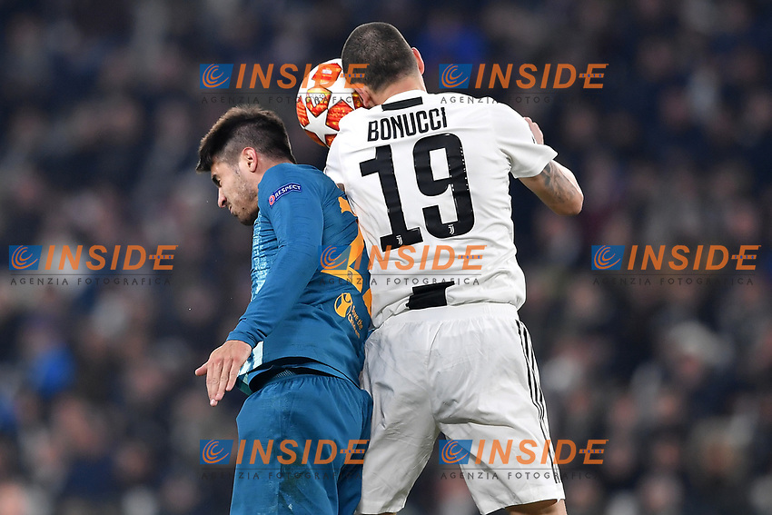 Alvaro Morata of Atletico Madrid and Leonardo Bonucci of Juventus compete for the ball during the Uefa Champions League 2018/2019 round of 16 second leg football match between Juventus and Atletico Madrid at Juventus stadium, Turin, March, 12, 2019 <br />  Foto Andrea Staccioli / Insidefoto