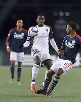 Foxborough, Massachusetts - April 25, 2015: First half action. In a Major League Soccer (MLS) match, the New England Revolution (blue/white) vs Real Salt Lake (white), 2-0 (halftime), at Gillette Stadium.