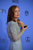 Isabelle Huppert at the 74th Golden Globe Awards  at The Beverly Hilton Hotel, Los Angeles USA 8th January  2017<br /> Picture: Paul Smith/Featureflash/SilverHub 0208 004 5359 sales@silverhubmedia.com