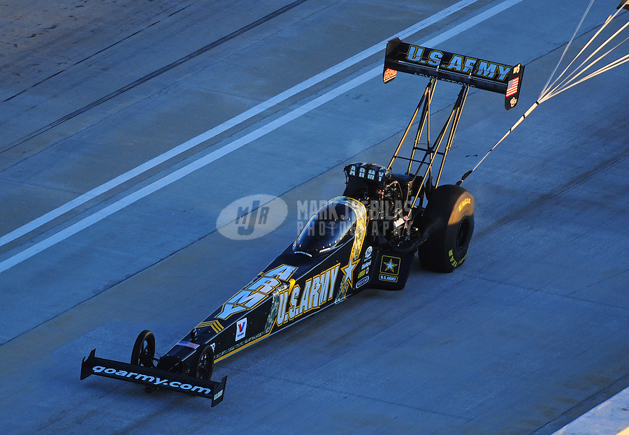 Jan. 20, 2012; Jupiter, FL, USA: Aerial view of NHRA top fuel dragster driver Tony Schumacher during testing at the PRO Winter Warmup at Palm Beach International Raceway. Mandatory Credit: Mark J. Rebilas-