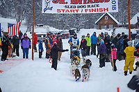 Chandler Wappett during the start of the 2018 Junior Iditarod Sled Dog Race on Knik Lake in Southcentral, Alaska.  Saturday February 24, 2018<br /> <br /> Photo by Jeff Schultz/SchultzPhoto.com  (C) 2018  ALL RIGHTS RESERVED