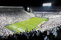 "Penn State fans in the upper level cheer during the 10th ever whole stadium ""white out"". The Penn State Nittany Lions upset the #2 ranked Ohio State Buckeyes 24-21 at Beaver Stadium in State College, PA."