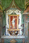 Interiour mural from Villa d'Este palace in Italy. Around 1550 the old monastery was turned into a beautiful palace for cardinal Ippolito II, a son of Lucrezia Borgia. The palace is surrounded by magnificent and very elaborate garden with grottoes, classic statues and many fountains.  After the cardinal died the villa was left neglected. It was restored in the 1920s then opened to the public.