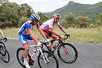 4 man early breakaway including Loic Chetout (FRA) Cofidis Solutions Credits and Mickael Delage (FRA) Groupama-FDJ during Stage 1 of the Route d'Occitanie 2019, running 175.5km from Gignac-Vallée de l'Hérault to Saint-Geniez-d'Olt-et-d'Aubrac , France. 20th June 2019<br /> Picture: Colin Flockton | Cyclefile<br /> All photos usage must carry mandatory copyright credit (© Cyclefile | Colin Flockton)