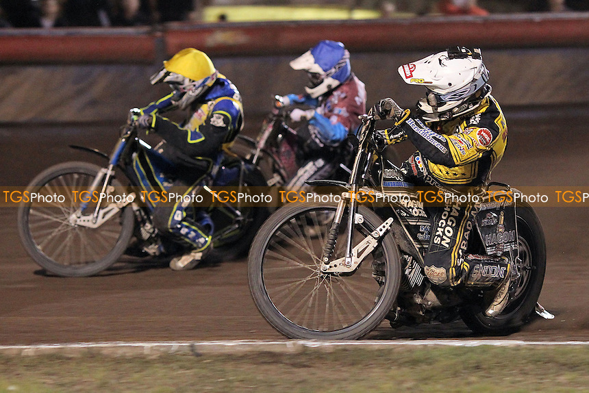 Heat 12: Rob Mear (blue), Edward Kennett (white) and Jan Graversen - Lakeside Hammers vs Coventry Bees - Sky Sports Elite League Speedway at Arena Essex Raceway, Purfleet - 10/09/12 - MANDATORY CREDIT: Gavin Ellis/TGSPHOTO - Self billing applies where appropriate - 0845 094 6026 - contact@tgsphoto.co.uk - NO UNPAID USE.