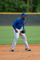 GCL Blue Jays shortstop Luis De Los Santos (1) during the first game of a doubleheader against the GCL Yankees East on July 24, 2017 at the Yankees Minor League Complex in Tampa, Florida.  GCL Blue Jays defeated the GCL Yankees East 6-3 in a game that originally started on July 8th.  (Mike Janes/Four Seam Images)