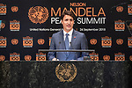 Opening Plenary Meeting of the Nelson Mandela Peace Summit<br /> <br /> His Excellency Justin TRUDEAUPrime Minister of Canada