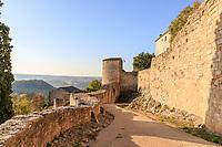 France, Tarn, Puycelsi, labelled Les Plus Beaux Villages de France (the Most Beautiful Villages of France), ramparts and prison tower // France, Tarn (81), Puycelsi, labellisé Les Plus Beaux Villages de France, les remparts, tour de la prison