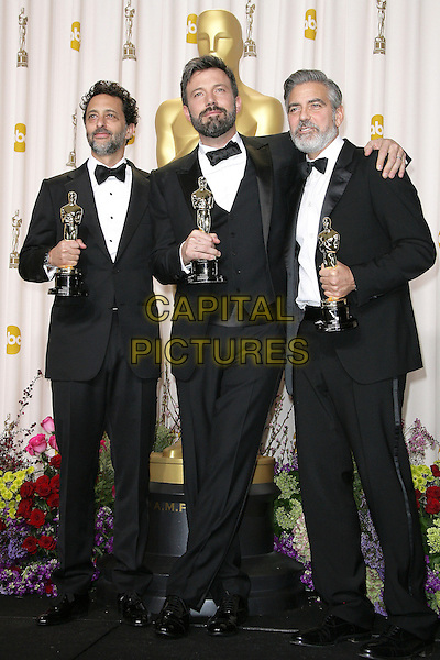 Grant Heslov, Ben Affleck, George Clooney.85th Annual Academy Awards held at the Dolby Theatre at Hollywood & Highland Center, Hollywood, California, USA..February 24th, 2013.pressroom oscars full length black tuxedo bow tie beard facial hair white shirt award trophy trophies winner winners arm over shoulder .CAP/ADM.©AdMedia/Capital Pictures.