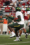 Oregon freshman quarterback, Darron Thomas (#1), shows his scrambling ability during the Ducks Pac-10 conference game against the Washington State Cougars at Martin Stadium in Pullman, Washington, on September 27, 2008.